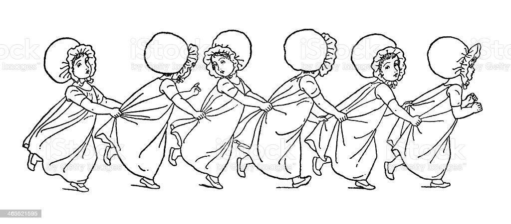 Line of little Regency era girls running royalty-free stock vector art