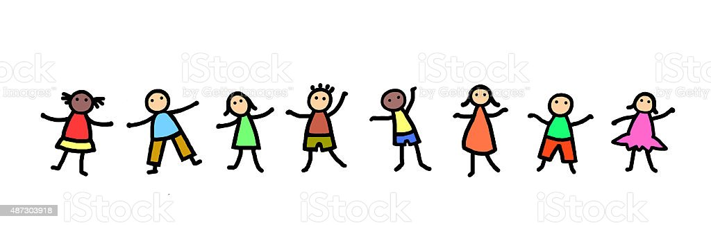 Line of stick figure kids dancing vector art illustration