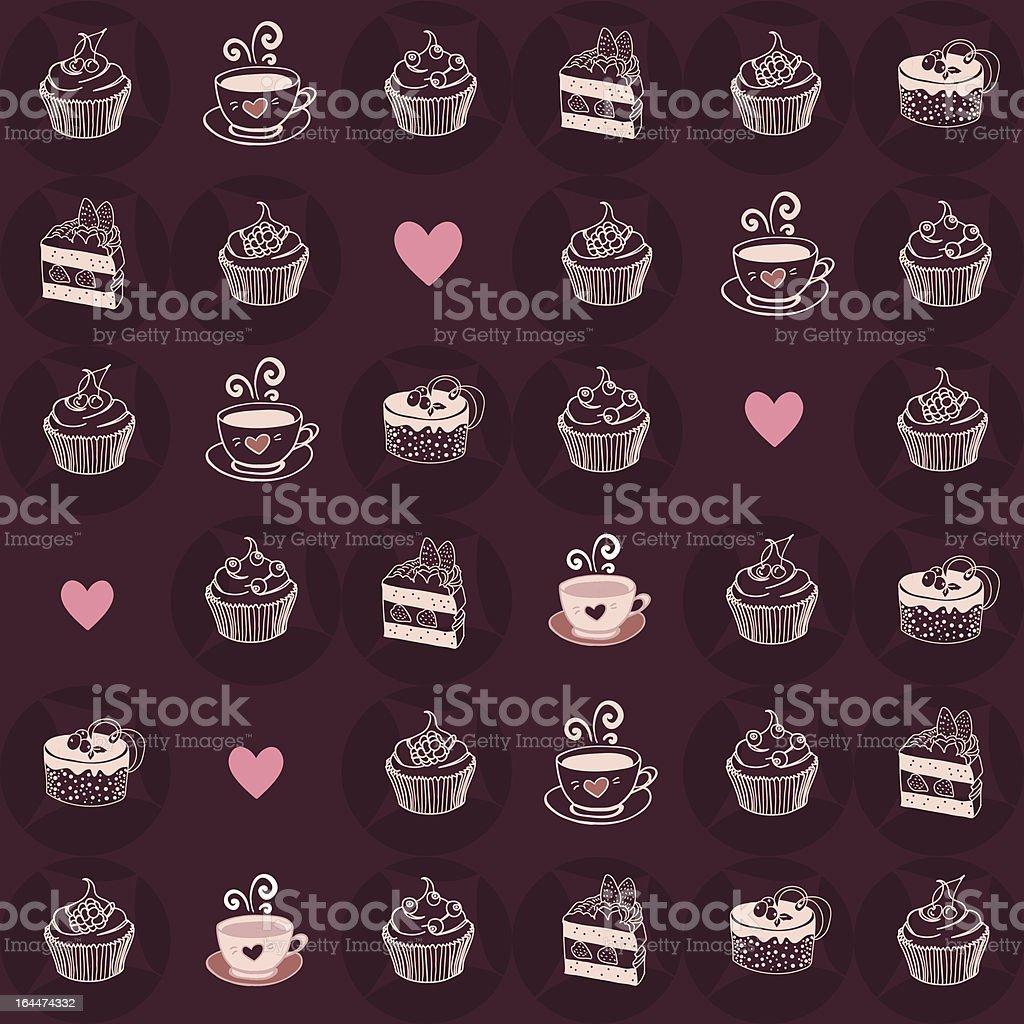 Line pattern with desserts, coffee and hot cacao royalty-free stock vector art