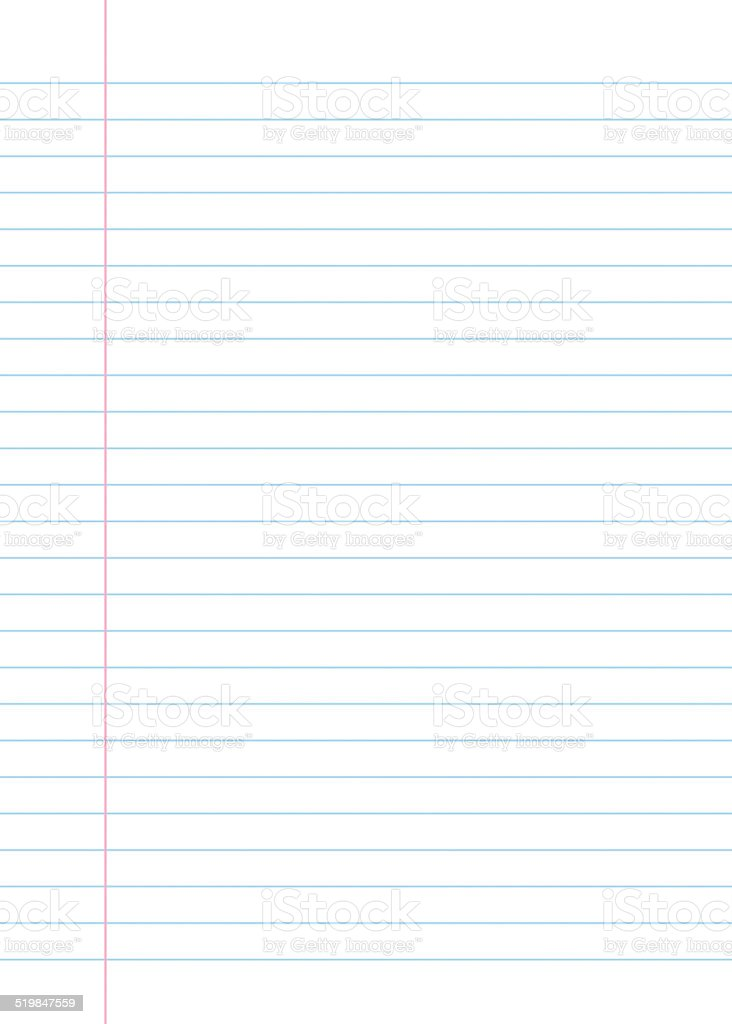 Lined paper from a notebook vector art illustration