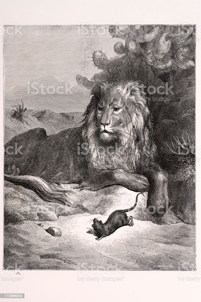 Lion and the Rat royalty-free stock vector art