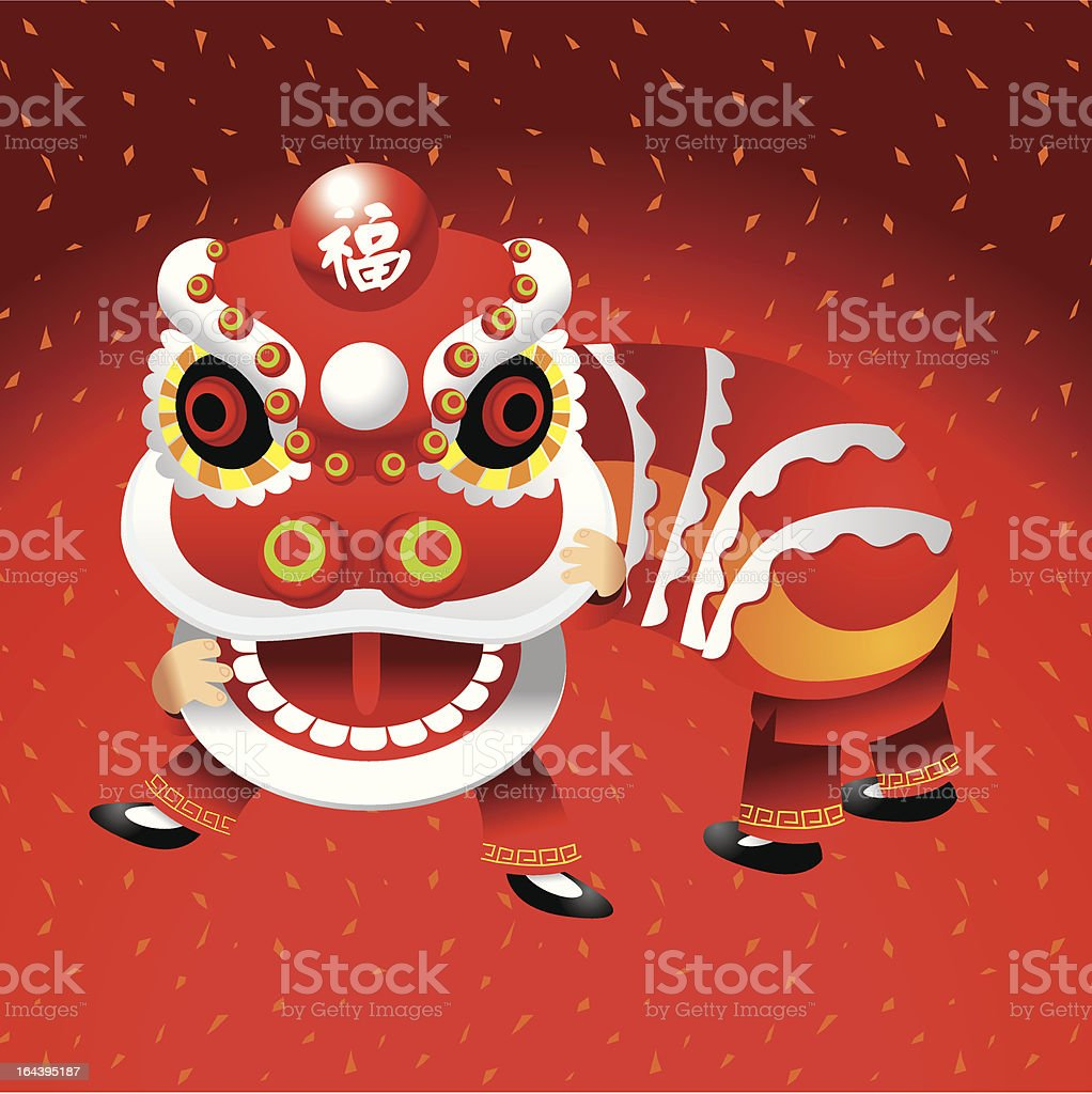 Lion Dance royalty-free stock vector art