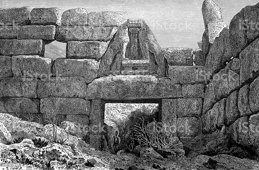 Lion Gate at Mycenae, Greece royalty-free stock vector art