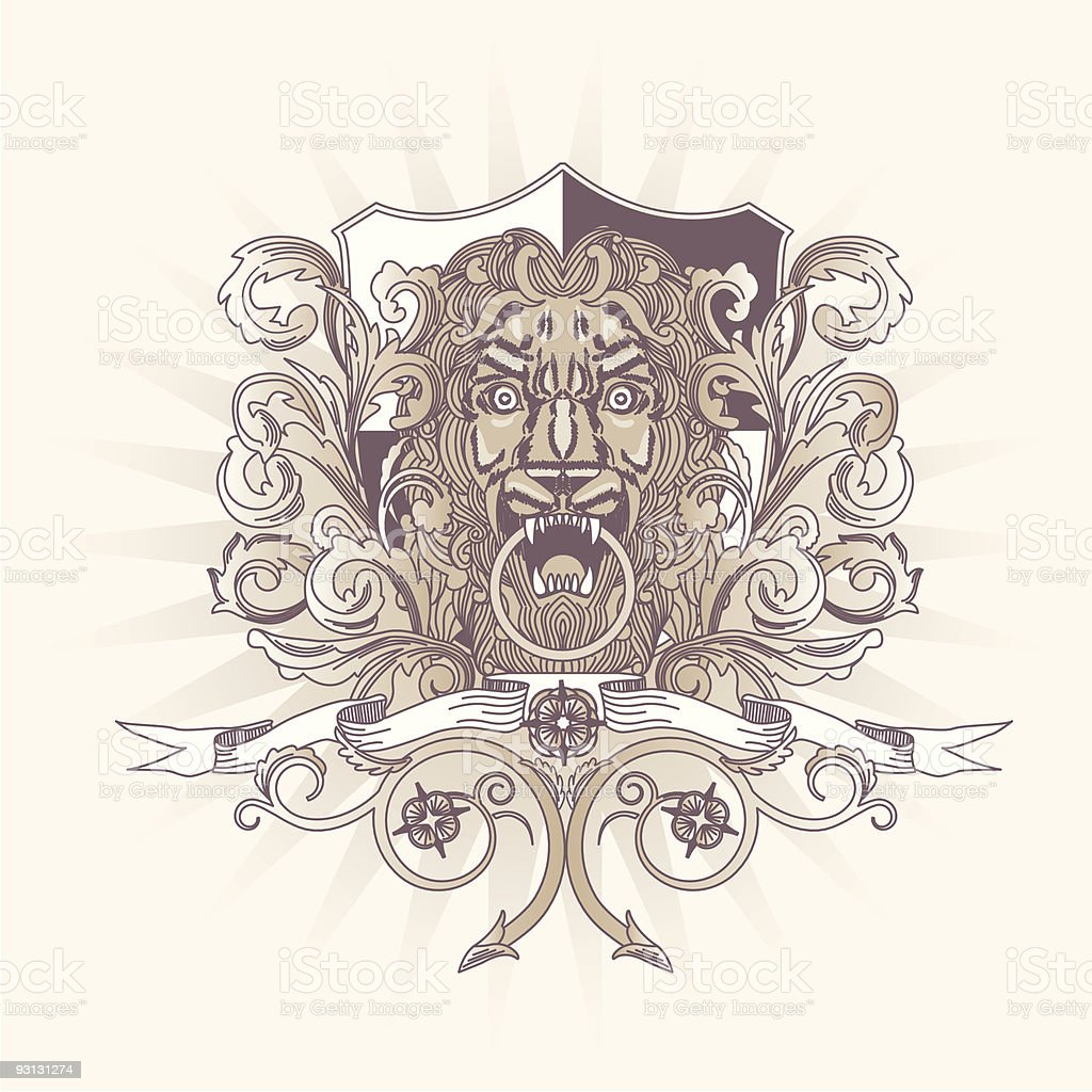 Lion Head Crest with Shield royalty-free stock vector art