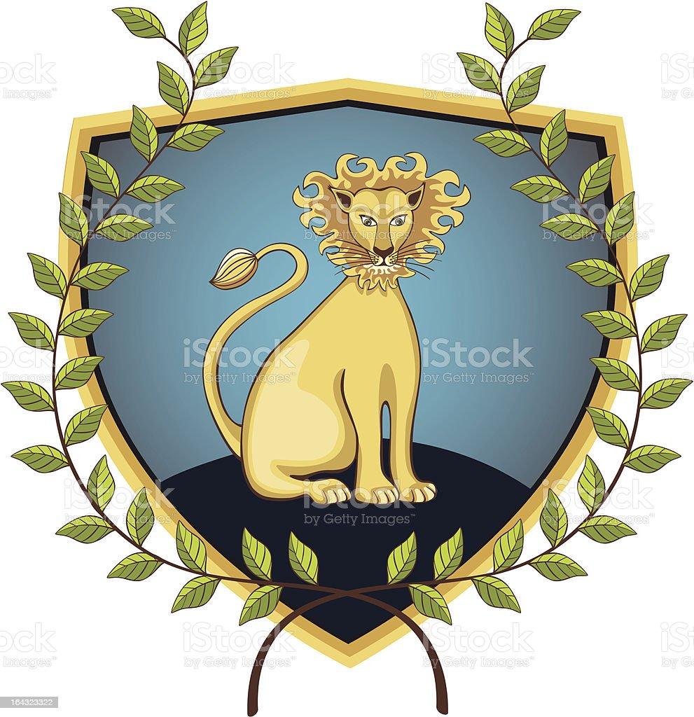 Lion in laurel wreath vector art illustration