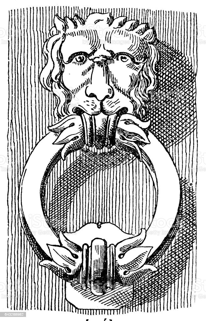 Lion shaped knocker vector art illustration