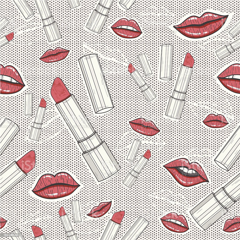 Lips and lipsticks beauty seamless pattern royalty-free stock vector art