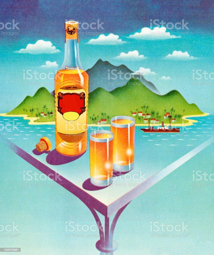 Liquor Bottle and Drinks In Front Of Island vector art illustration