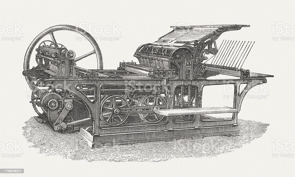 Lithography-speed press, 1867, by Georg Sigl (1811-1887), published in 1876 vector art illustration
