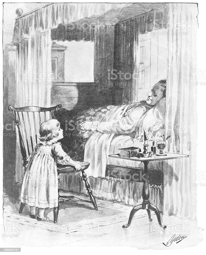 Little 18th century girl at a sick man's bedside vector art illustration
