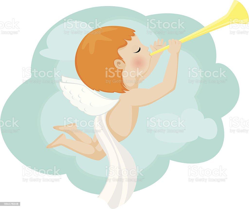 Little Angel blowing a trumpet blast royalty-free stock vector art