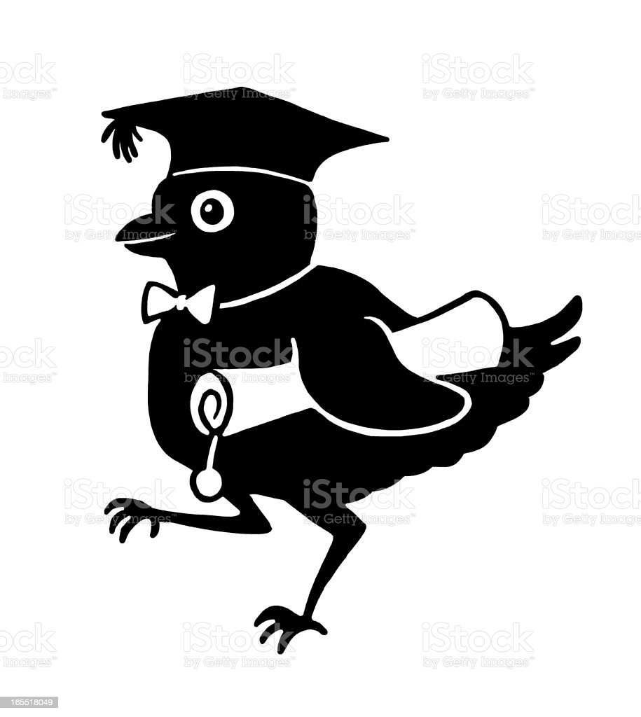 Little Bird with a Diploma royalty-free stock vector art