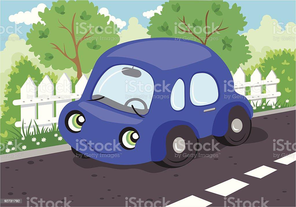 Little blue car royalty-free stock vector art