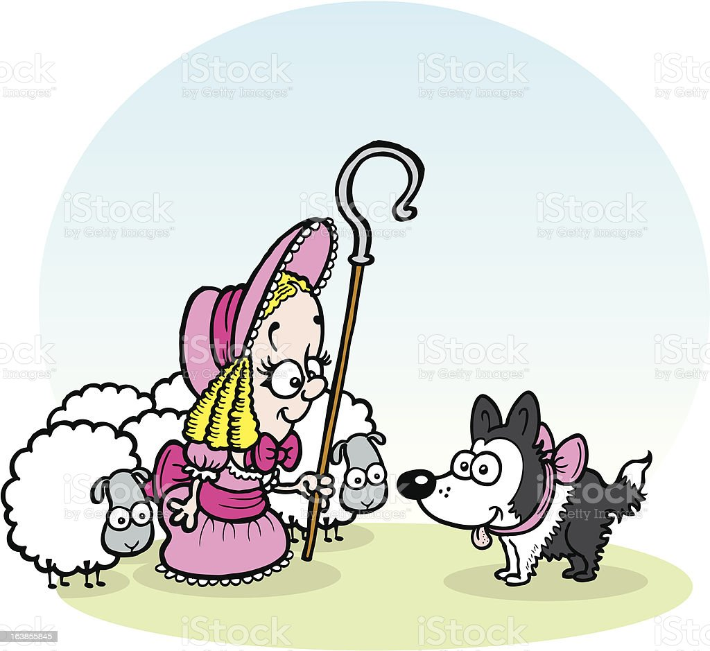 Little Bo Peep and a sheepdog royalty-free stock vector art