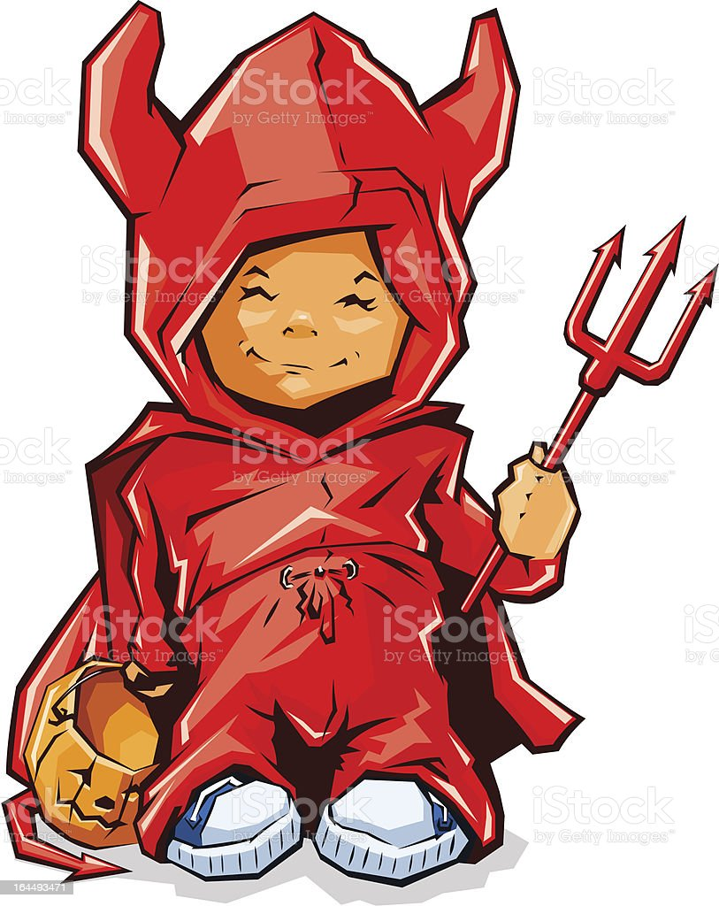little boy in demons costume for halloween royalty-free stock vector art