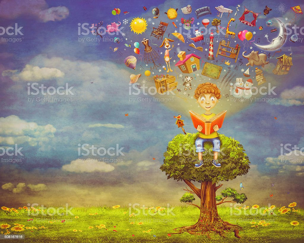 Little boy sitting on the tree and  reading a book vector art illustration