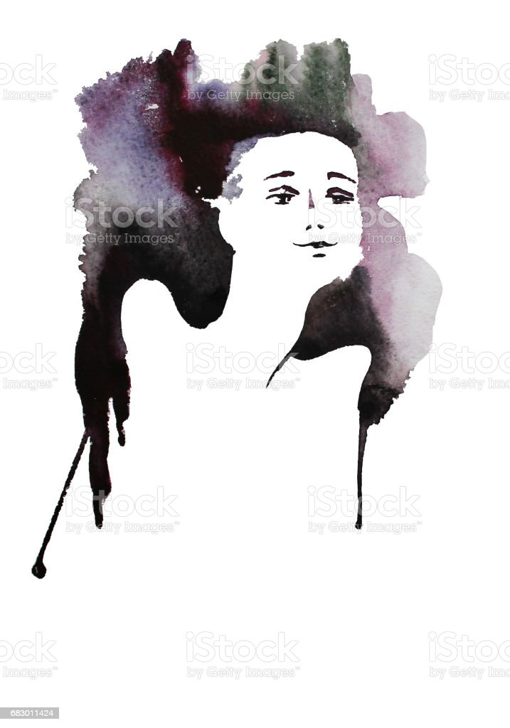 Little Buddha, watercolor hand drawn illustration vector art illustration
