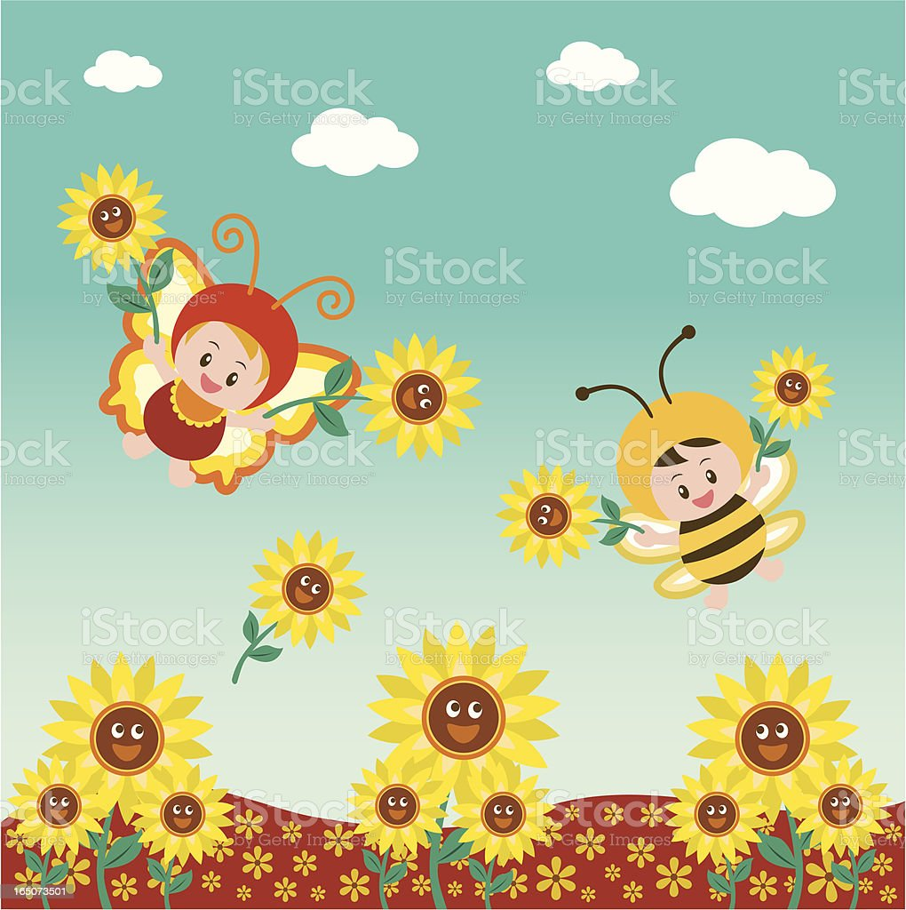 little butterfly and bee in flowerbed vector art illustration