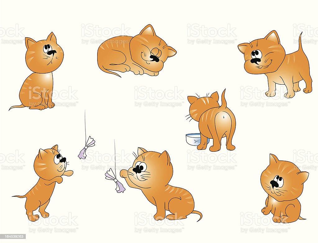 Pequeno gato em várias posições vetor e ilustração royalty-free royalty-free