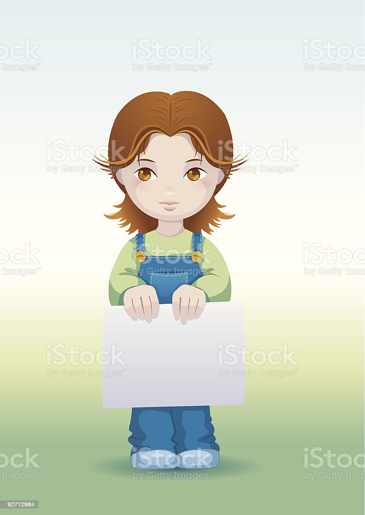 Little child holding a poster royalty-free stock vector art