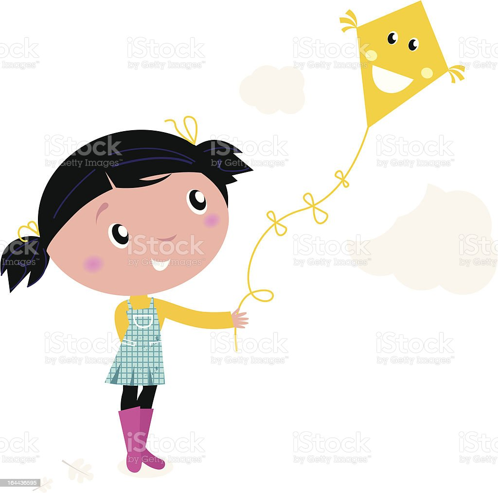 Little cute kid flying kite isolated on white royalty-free stock vector art