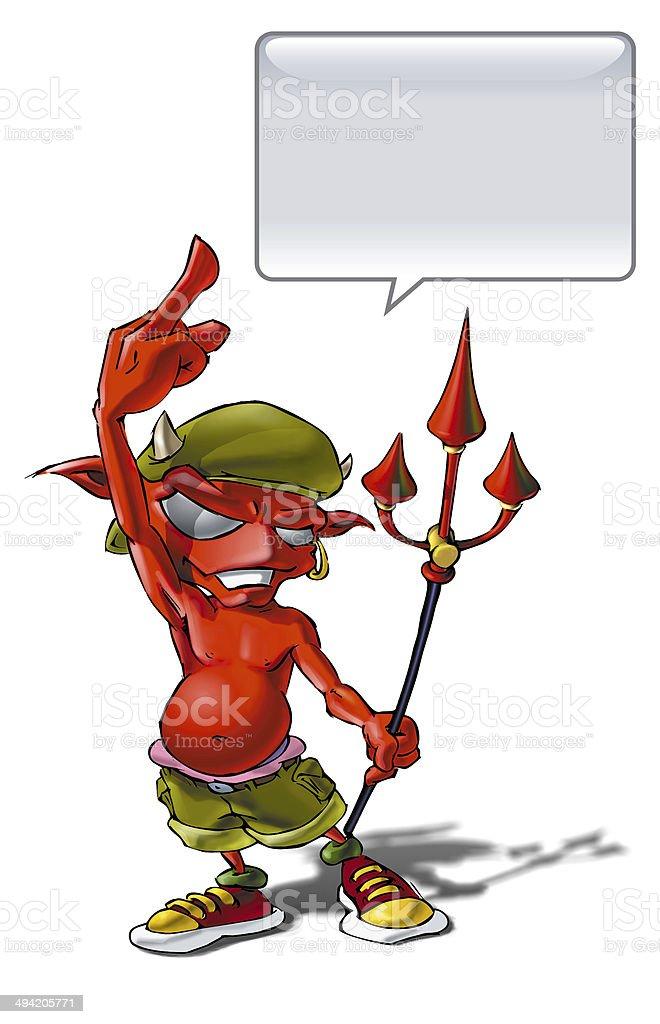 Little Devil giving the finger royalty-free stock vector art