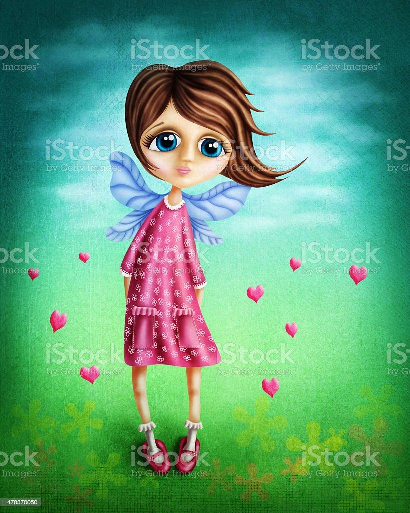 Little fairy girl vector art illustration