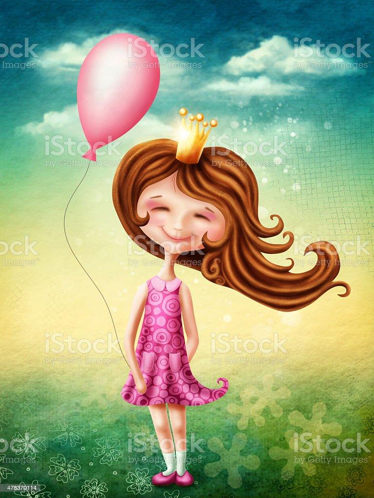 Little fairy girl with heart vector art illustration