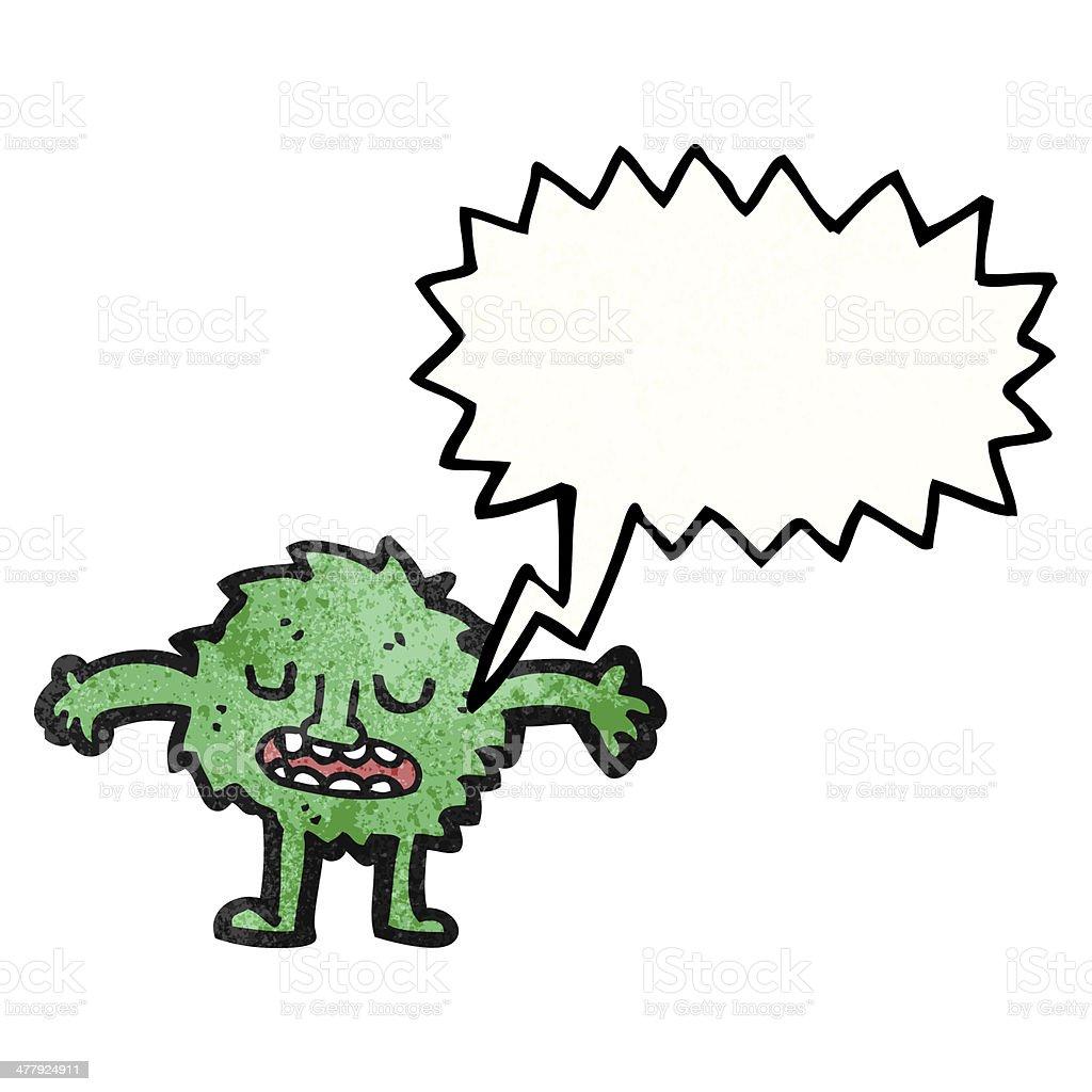 little furry green monster cartoon royalty-free stock vector art