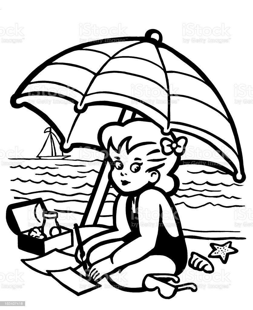 Little Girl at the Beach royalty-free stock vector art