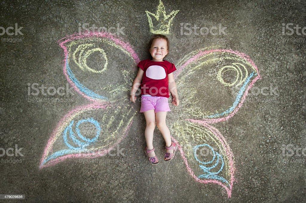 Little girl Butterfly, JOY vector art illustration