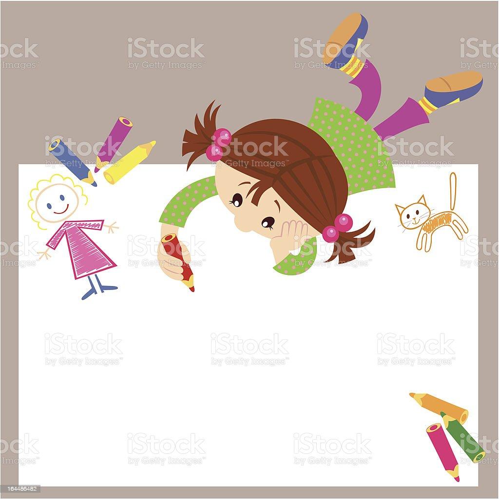 Little girl drawing royalty-free stock vector art