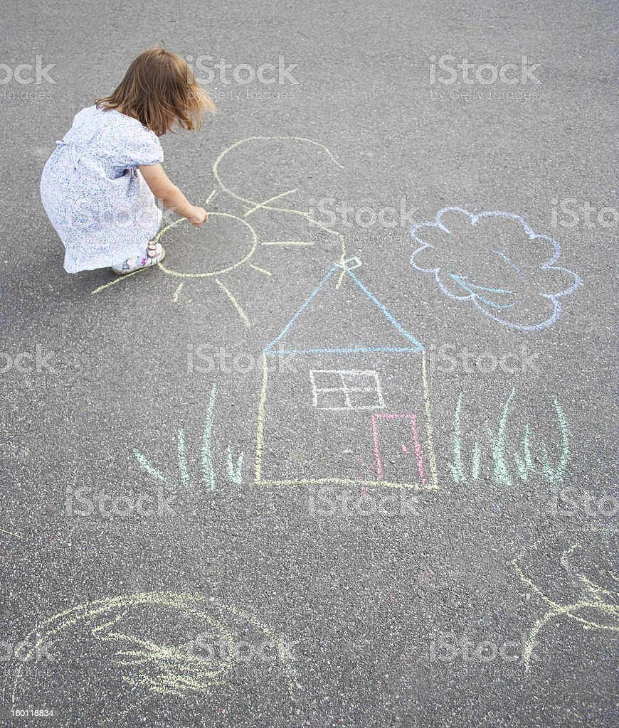 Little girl drawing outdoors vector art illustration