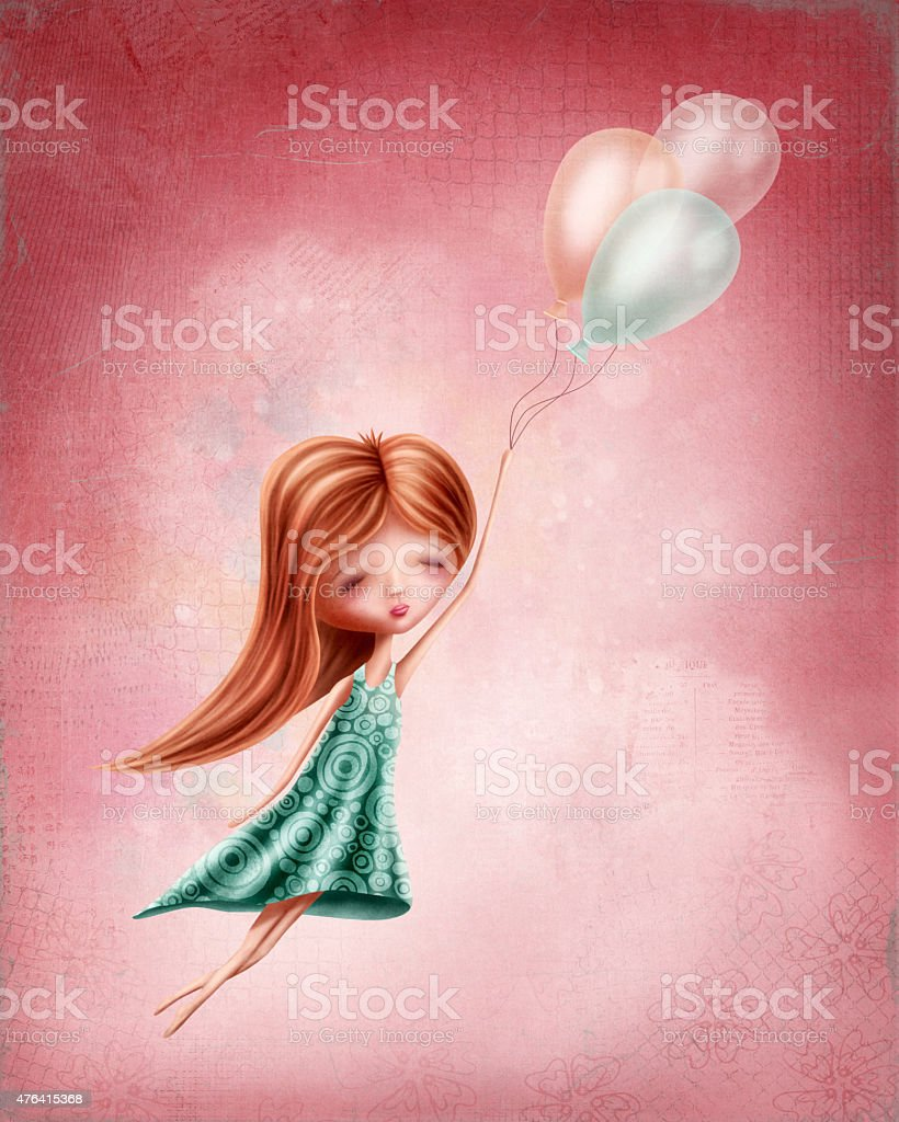 Little girl flying vector art illustration