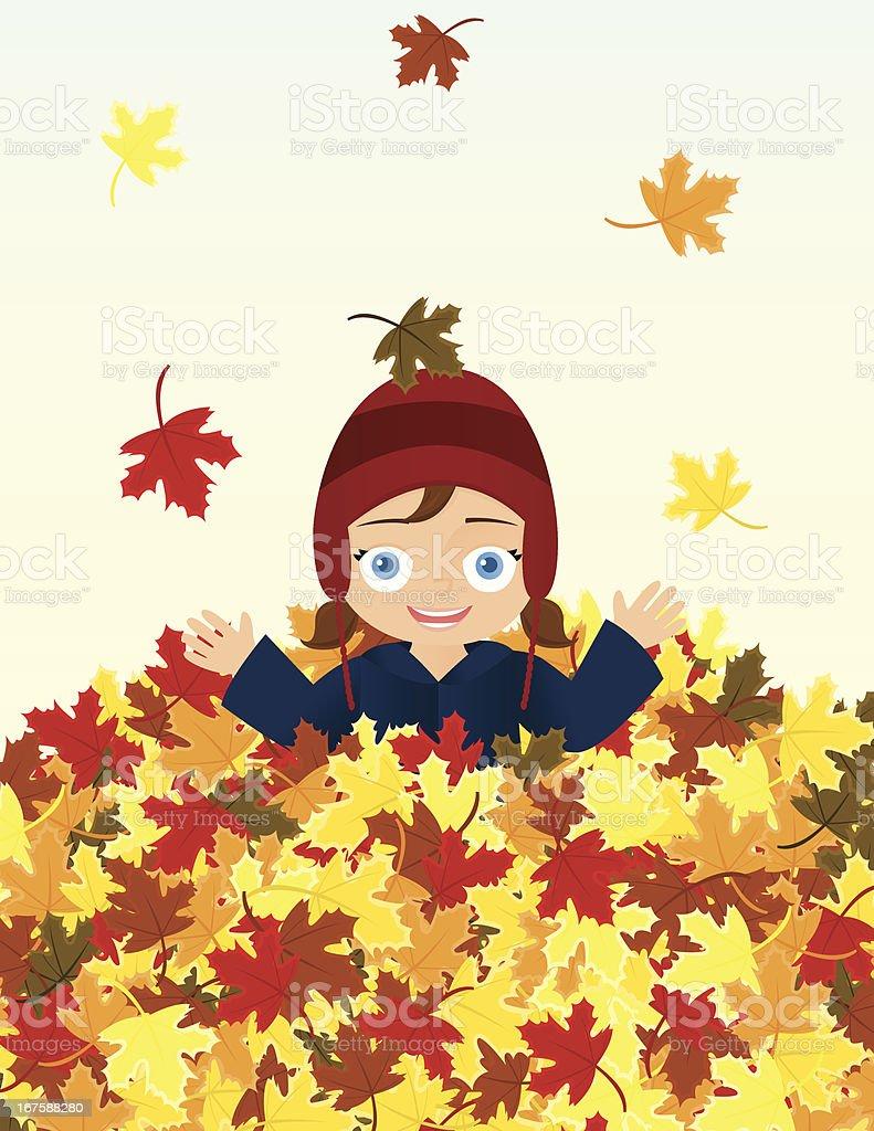 Little Girl in Pile of Autumn Leaves vector art illustration