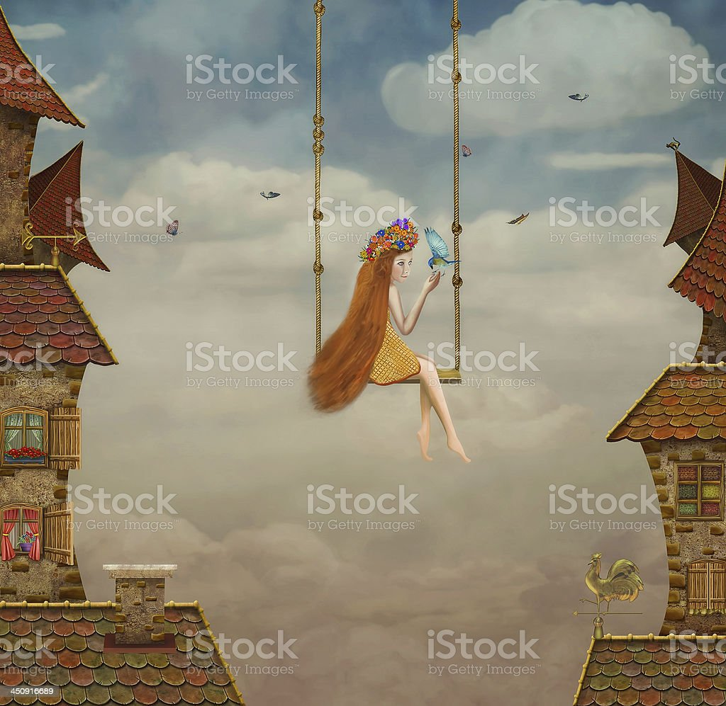 Little girl on a swing,tile Roofs with sky vector art illustration
