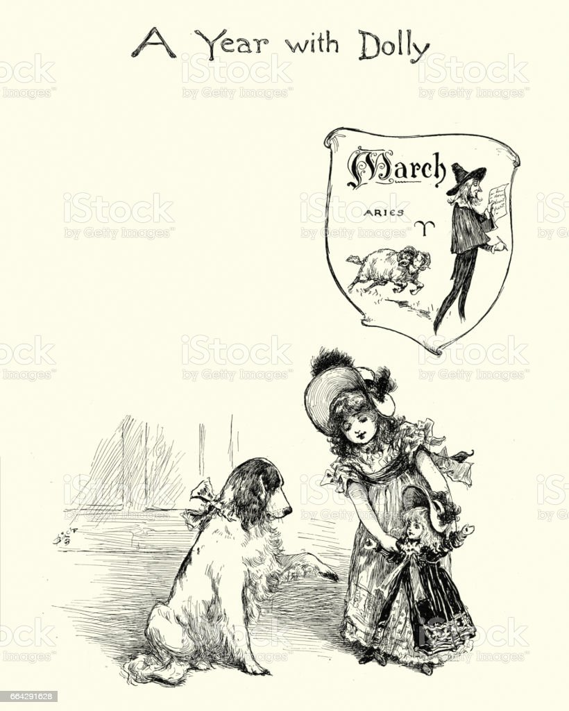 Little girl playing with her doll and pet dog, 19th Century vector art illustration