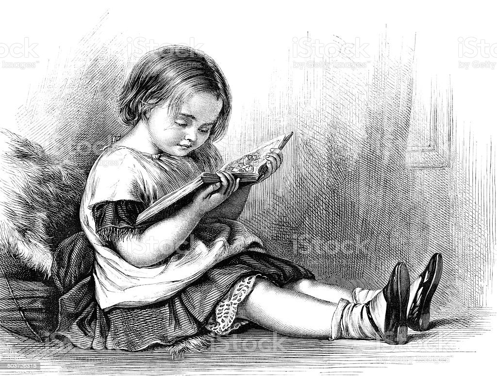 Little Girl Reading A Picture Book vector art illustration