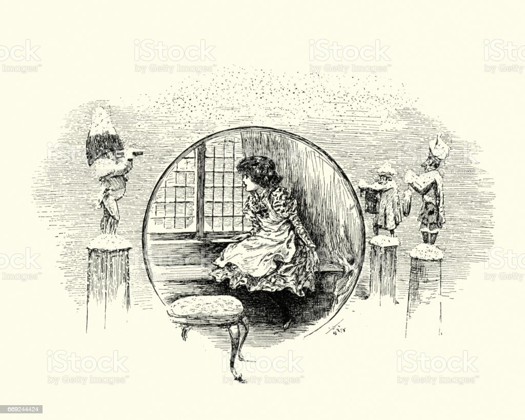 Little girl sat looking out a window, 19th Century vector art illustration