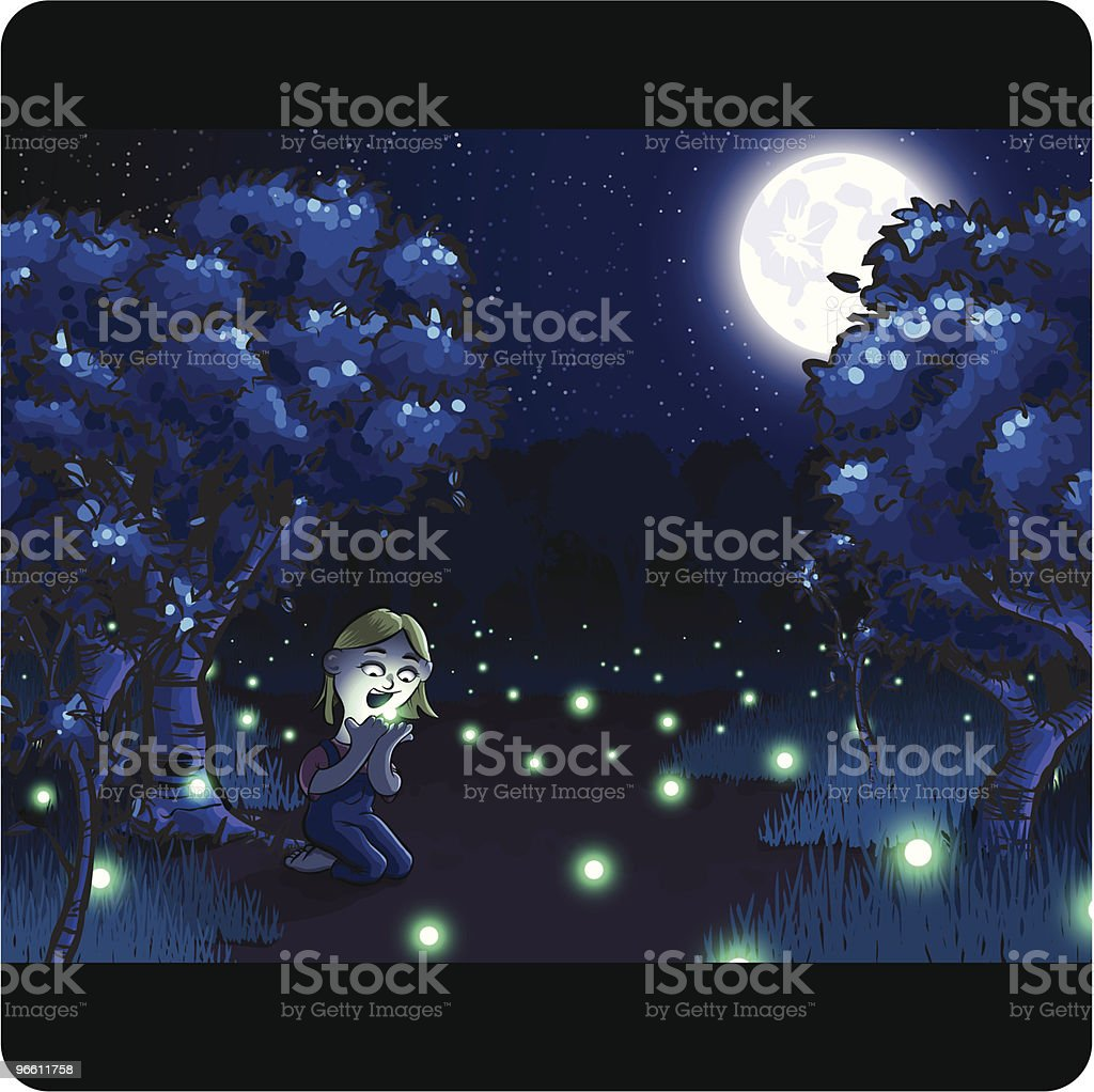 Little Girl Sitting in Field with Fireflies at Night vector art illustration