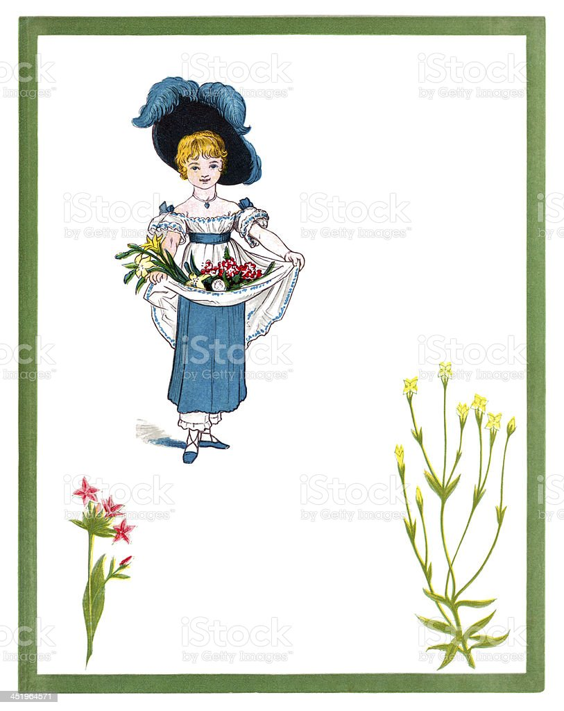 Little Victorian girl whose apron is filled with flowers vector art illustration
