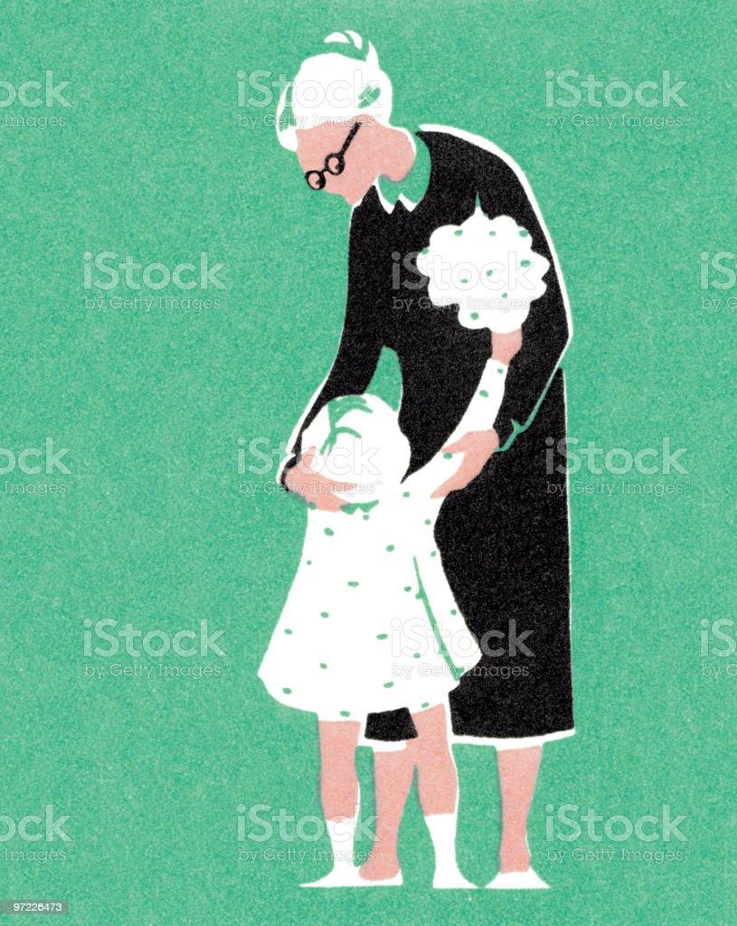 Little girl with Grandma vector art illustration