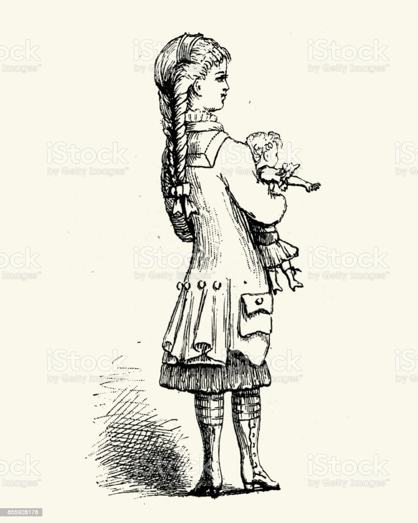 A little girl with her doll, 19th Century vector art illustration