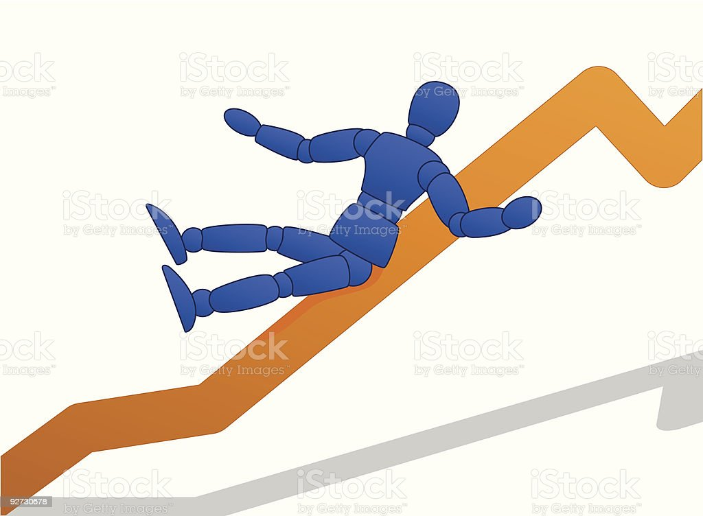 Little Man sliding down graph royalty-free stock vector art