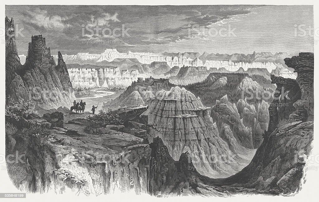 Little Missouri badlands, North Dakota, Wood engraving, published in 1883 vector art illustration