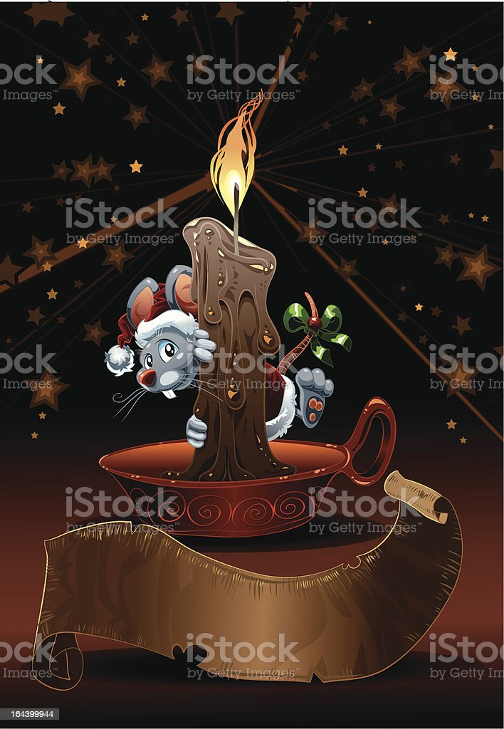 Little Mouse for Christmas. royalty-free stock vector art