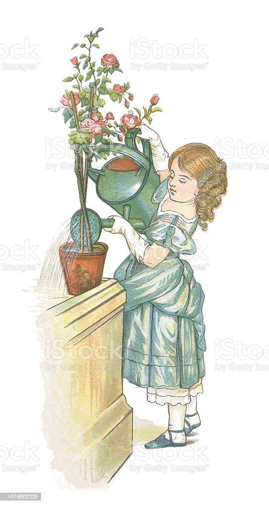 Little nineteenth century girl watering a plant vector art illustration