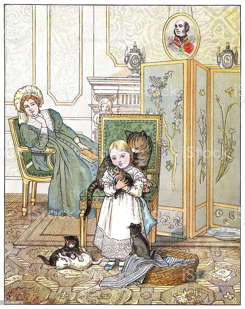 Little Victorian girl with cat and kittens vector art illustration