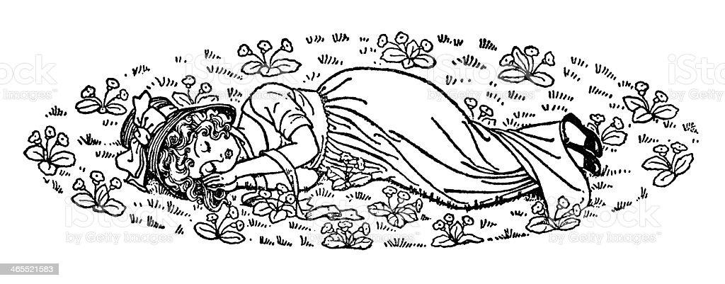 Little Regency era girl asleep amongst flowers vector art illustration