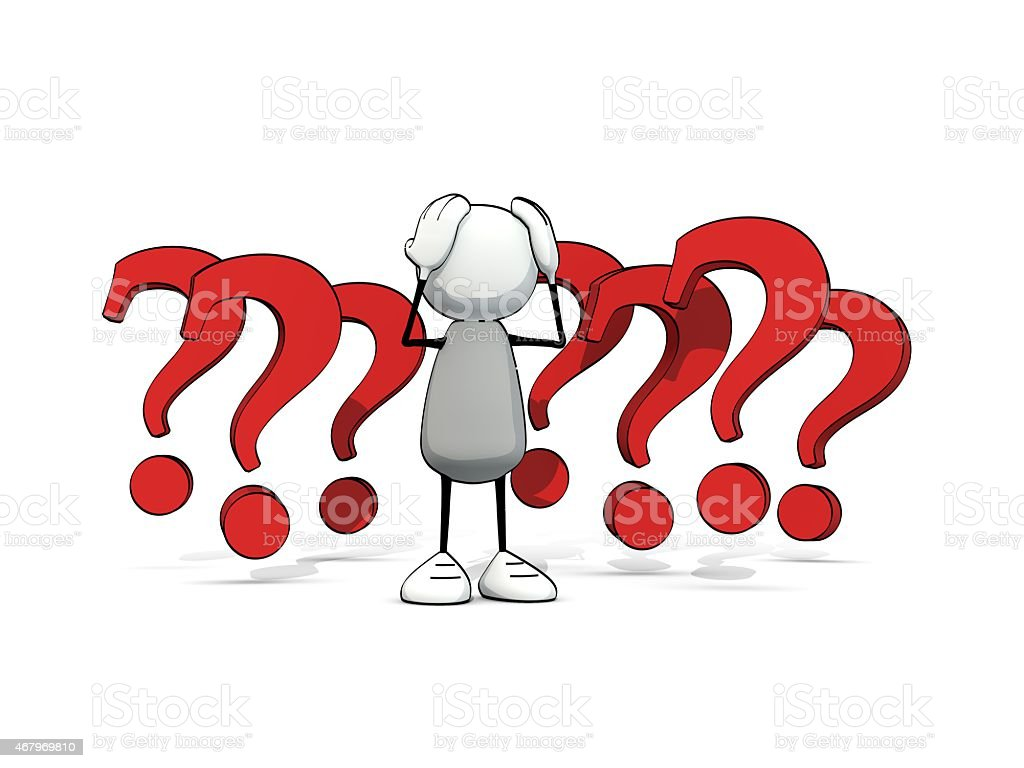 little sketchy man baffled with red questionmarks vector art illustration